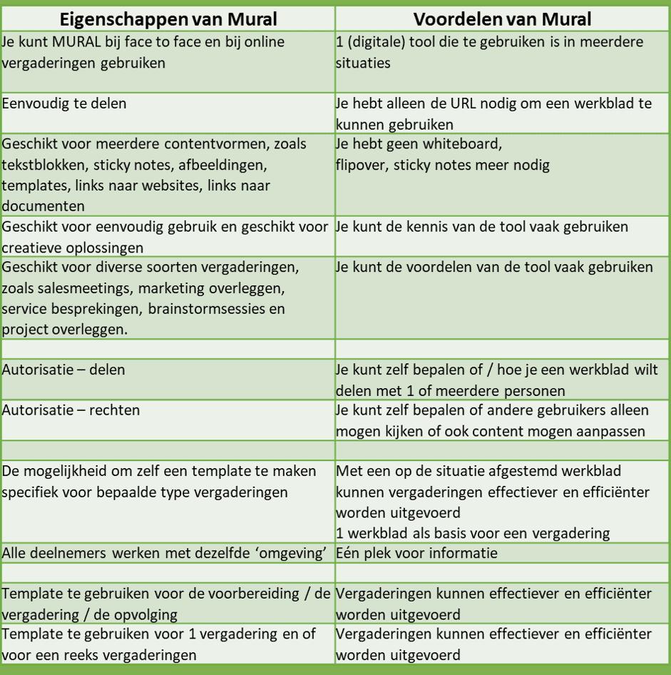 voordelen en eigenschappen van mural tool